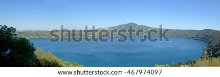 The volcanic lake of Castel Gandolfo in the Castelli Romani in Lazio
