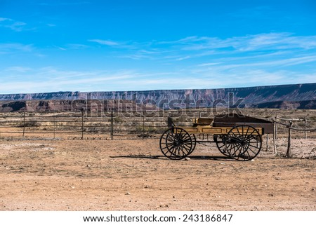 The wagon in the blue sky at cowboys village Grand canyon west rim