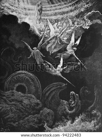The war with the dragon. 1) Le Sainte Bible: Traduction nouvelle selon la Vulgate par Mm. J.-J. Bourasse et P. Janvier. Tours: Alfred Mame et Fils. 2) 1866 3) France 4) Gustave Doré