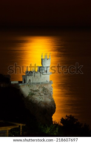 The well-known castle Swallow's Nest near Yalta in moon track