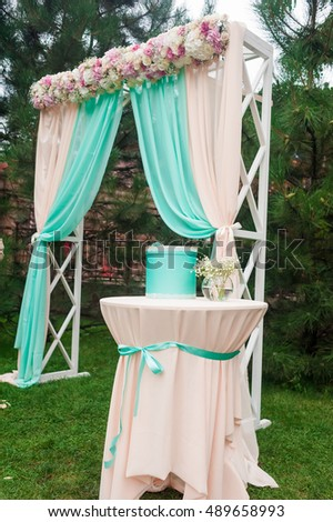 Fine how to decorate a wedding arch with fabric photo wedding beautiful white wedding arch decorated pink stock photo 472721119 junglespirit Choice Image