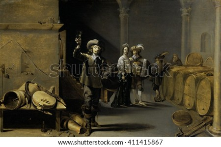 The Wine Connoisseurs, by Jacob Duck, 1640-42, Dutch painting, oil on panel. Man hold a glass of wine up to the light in a wine cellar with a row of wine barrels, as an elegantly dressed couple watch