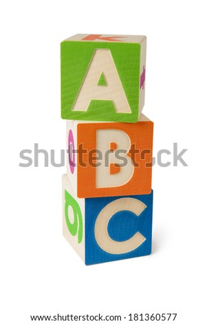 The wooden alphabet blocks isolated on a white background
