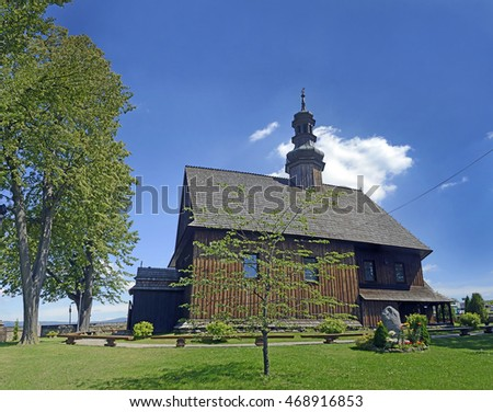 "The wooden Church of the Holy Cross ""on Obidowa"" in Rdzawka near Chabowka arose in 1757, Lesser Poland."