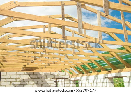 The Wooden Frame Of The Roof Beams