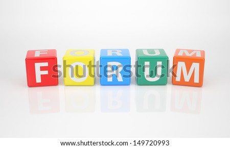 The Word Forum out of multicolored Letter Dices