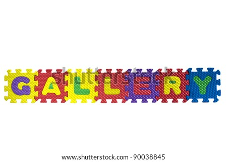 "the word ""Gallery"" written with alphabet puzzle letters isolated on white background"