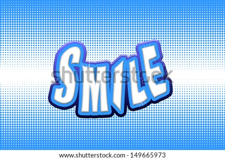 The word smile with a star effect illustration. This is computer generated art and is not a photograph.