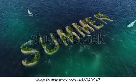 The word summer in the form of tropical islands with sandy beaches and palm trees (3D illustration)