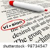 The word Vision circled by a red marker on a dictionary page, offering a definition for leadership, perspective and unique insight in reaching goals and achieving great things - stock photo