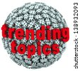 The words Trending Topics on a ball or sphere of hash tags to illustrate hot news, buzz or trends on social networks and reporting sites - stock photo