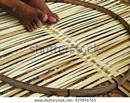 The woven bamboo basket by hand,Thailand