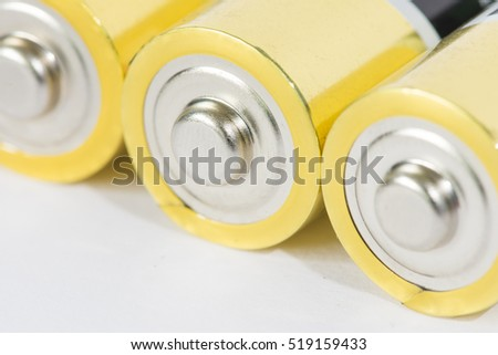 The yellow batteries are neatly arranged