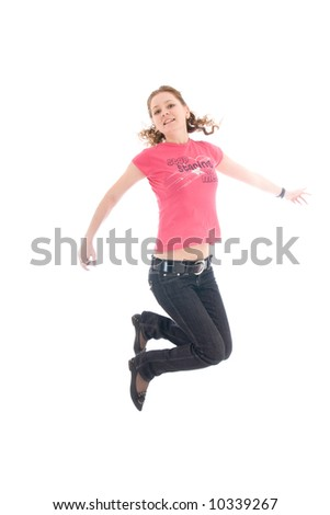 The young jumping girl isolated on a white background