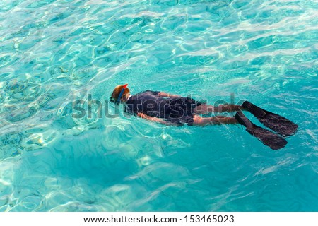 The young man in equipment for a snorkeling in the sea