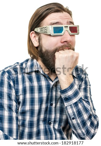 the young man, looks through stereo glasses