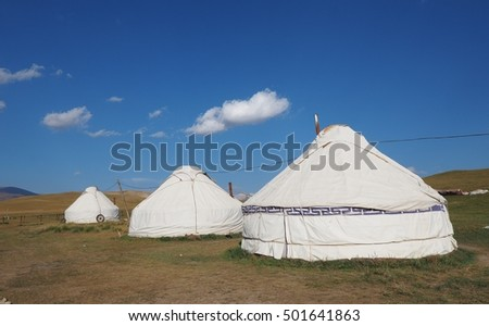 The yurts that herdsmen staying in right season