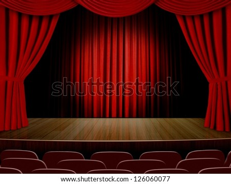 Theater curtains  and read seats