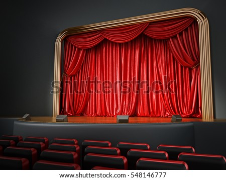 Theater room with red seatings. 3D illustration.