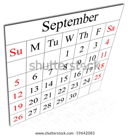 There is a calendar of September, week starting in Sunday