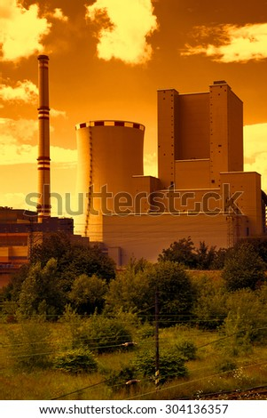 Thermal power station in Czech Republic at sunset