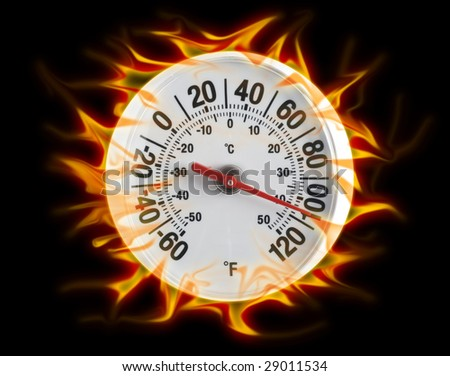 Thermometer on fire on black