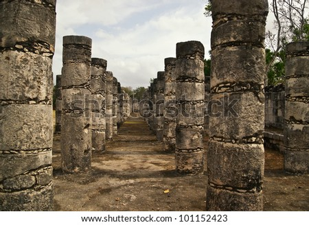 These columns surround the Temple of the Warriors, a massive temple structure in the ancient city of Chichen Itza. The columns continue on into the jungle where many are waiting for restoration.