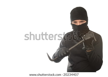 thief has control over crowbar on the isolated background