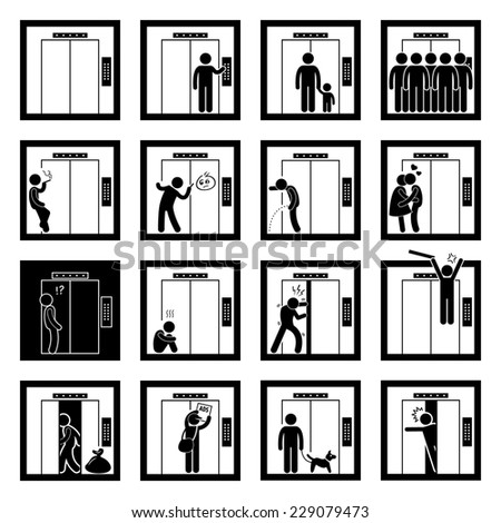 people inside elevator. things that people do inside elevator lift stick figure pictogram icons o