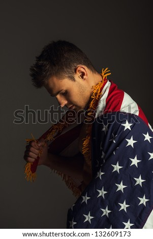Thinking man with american flag