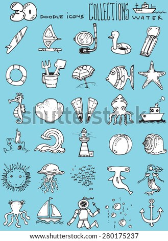 thirty doodle icons illustration WATER sea horse fish swimming sun diver boat sand toys surf board octopus blue