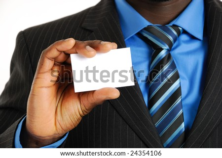 This is an image of a business man presenting a business card