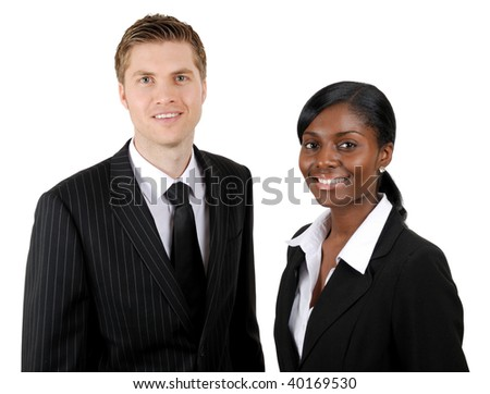 This is an image of confident business couple.