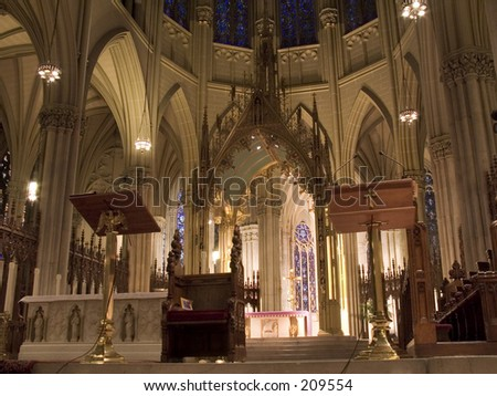 This is front view of the inside of St. Patrick's Cathedral in New York City.