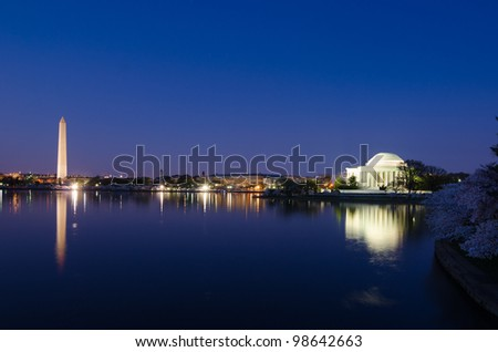 Thomas Jefferson Memorial  and Washington Monument during cherry blossom festival in Washington DC United States - Night shot