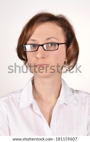 thoughtful girl on a white background