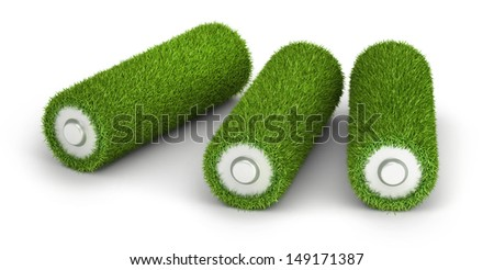 Three AA battery from grass green energy concept