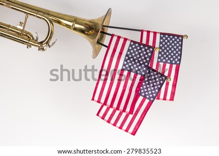 Image result for Trumpet with large flag stuck in it