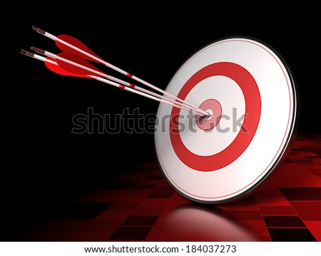 Three arrows hitting the center of a red target over dark tiled background. Illustration of leading concept or success
