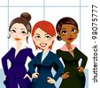 Three attractive and confident business women standing with and hands on hips - stock vector
