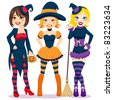 Three beautiful young women in colorful and funny witch costumes for Halloween party - stock vector