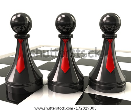 Three black pawns with red neckties