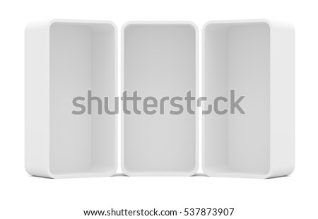 Three blank empty rounded showcase display. Front view. Mock-up. Ready for your design. Isolated. 3D illustration