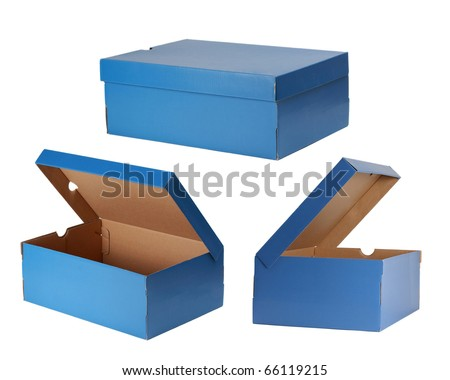 three blue shoe box isolated on white
