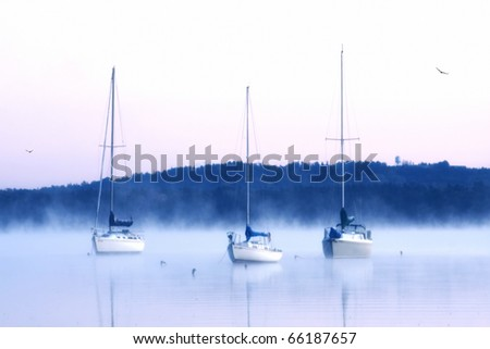 Three boats on cold foggy morning