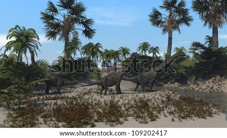 three brachiosaurus on shore