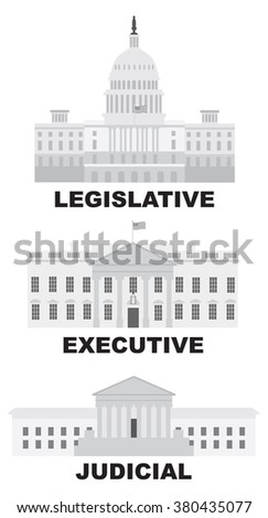 Three Branches of United States Government Legislative Executive Judicial Buildings Grayscale Raster Illustration