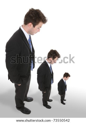 Three business men looking down as they get smaller