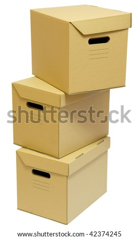 Three cardboard boxes stack for a moving day