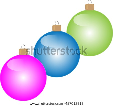 Three christmas toys on white background